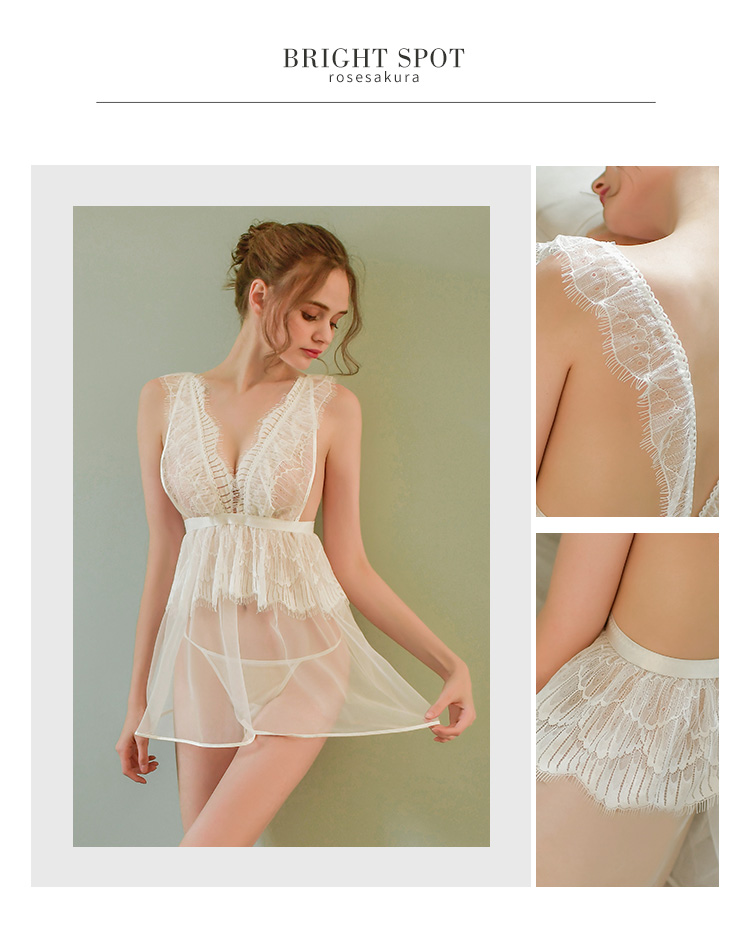 情趣内衣网纱透视蕾丝裙摆开衩性感唯美睡裙  情趣內衣