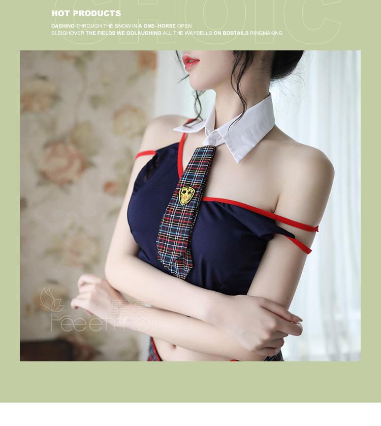 情趣内衣性感露背肩带绑带蝴蝶结英伦学院风制服学生  情趣內衣