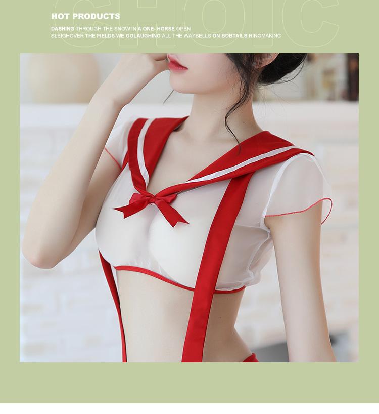 情趣内衣开裆背带裤性感日系水手大圆领制服  情趣內衣