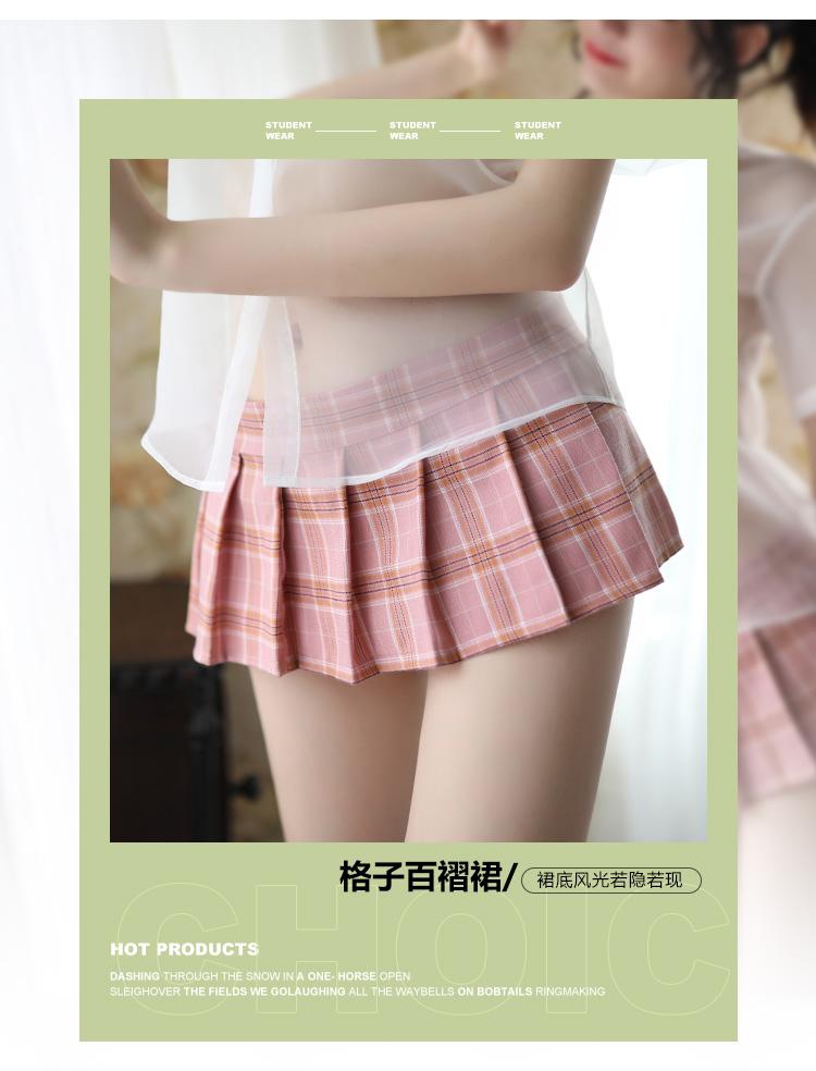 情趣内衣英伦格子裙衬衫性感透视学生蝴蝶结领结百褶裙  情趣內衣