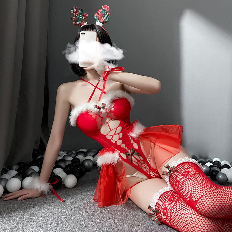 聖誕節情趣內衣角色扮演制服性感連體網衣套裝  情趣内衣