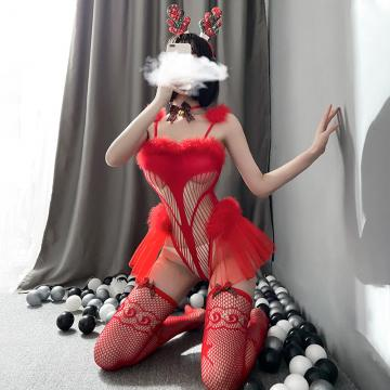 聖誕節情趣內衣性感角色扮演制服女郎連體網衣套裝