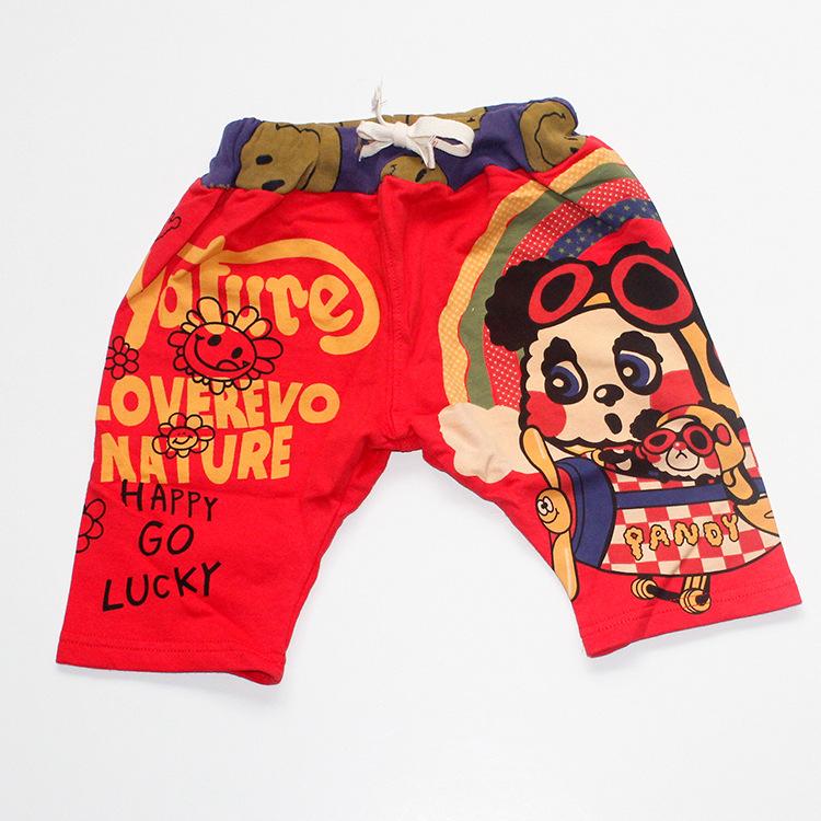 純棉可愛熊貓卡通英文字母夏季五分褲中褲日系黑超娃娃衛褲 女人/居家生活  黑超娃娃