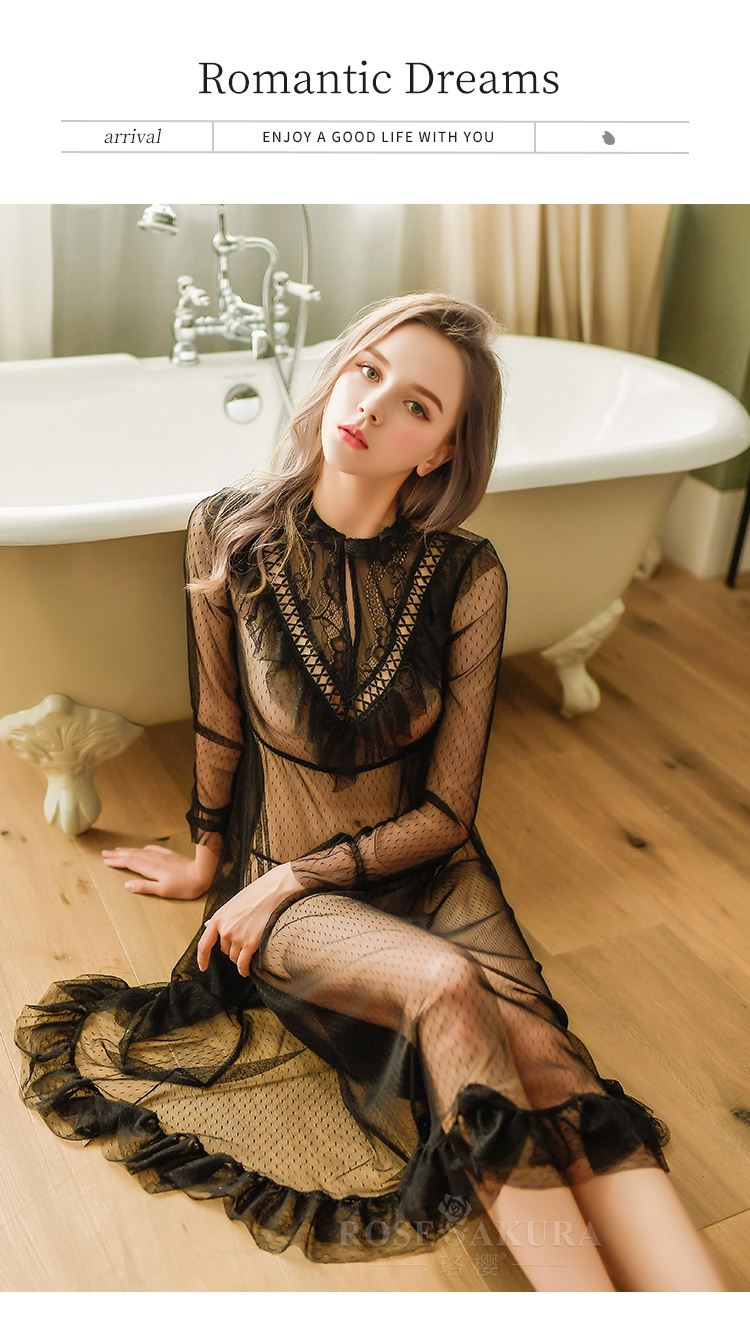 情趣内衣蕾丝花边性感网纱透视睡裙套装  情趣内衣