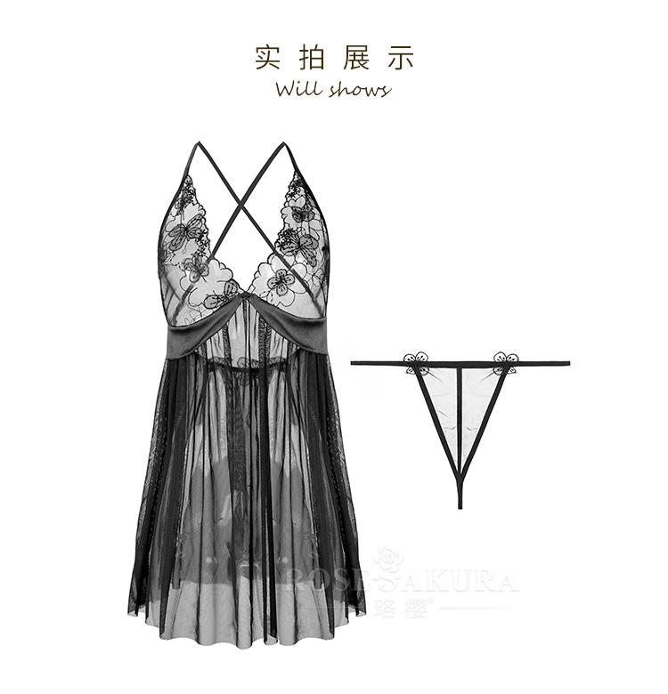 情趣内衣刺绣立体花朵装饰性感透视网纱睡裙  情趣内衣