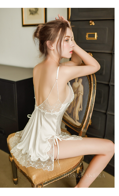 情趣内衣女式刺绣仿真丝侧开衩性感睡裙套装  情趣内衣