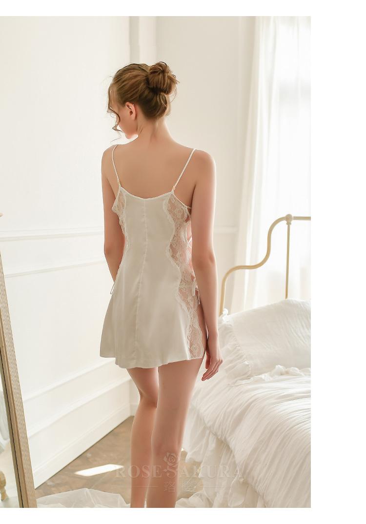 情趣内衣性感两侧镂空系带仿真丝睡裙套装  情趣内衣