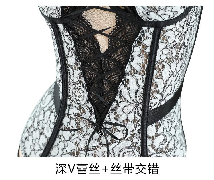 情趣内衣性感宫廷蕾丝鱼骨绑带束身钢圈马甲套  情趣內衣