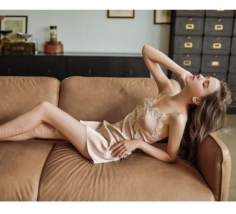 情趣内衣仿真丝立体水溶花边性感睡裙  情趣內衣