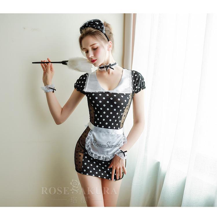 情趣内衣制服复古波点蕾丝花边性感女仆套装  情趣內衣