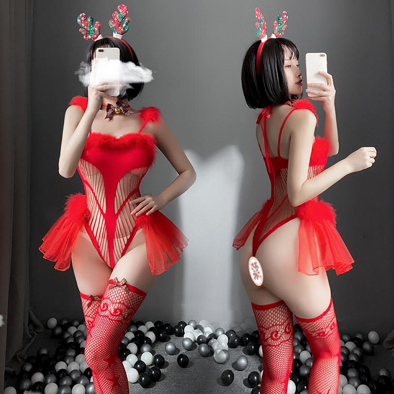 聖誕節情趣內衣性感角色扮演制服女郎連體網衣套裝  情趣制服 情趣内衣