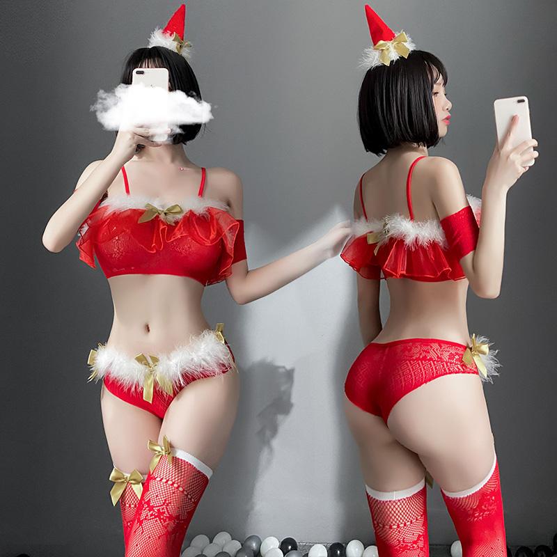 聖誕節情趣內衣角色扮演制服帽抹胸性感連體網衣裙套裝  情趣制服 情趣內衣