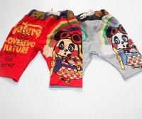 純棉可愛熊貓卡通英文字母夏季五分褲中褲日系黑超娃娃衛褲